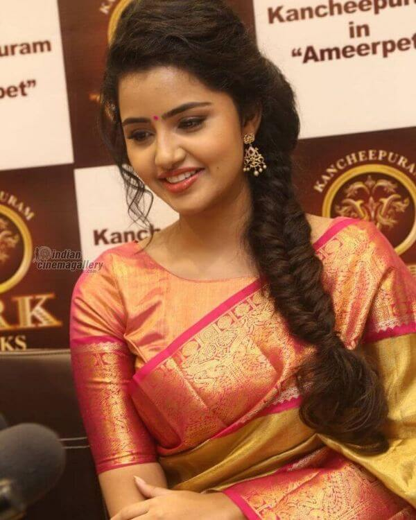 Anupama in silk saree