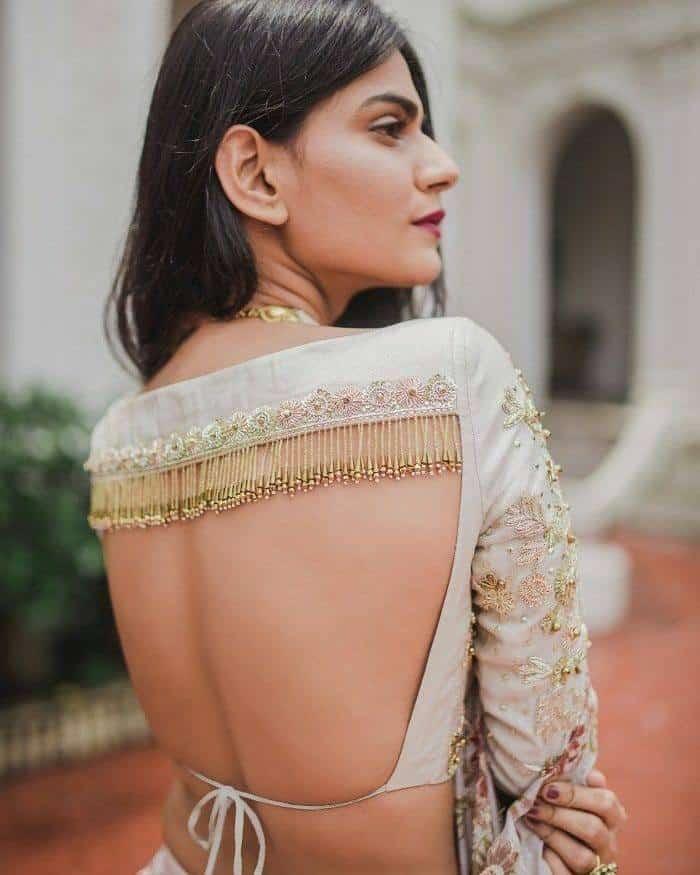 Back Less Blouse Design for Silk Saree
