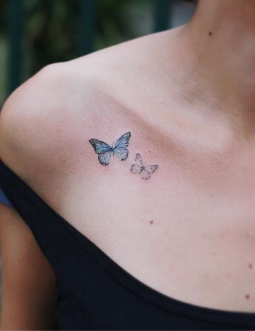 Colored butter fly Tattoo