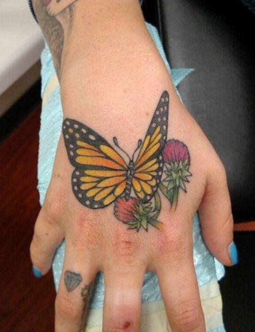 Flower & Butterfly Tattoo