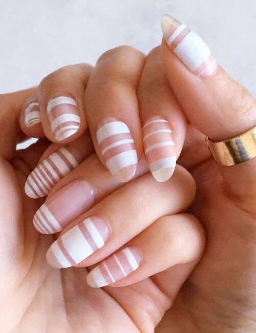 French manicure with extra stripes