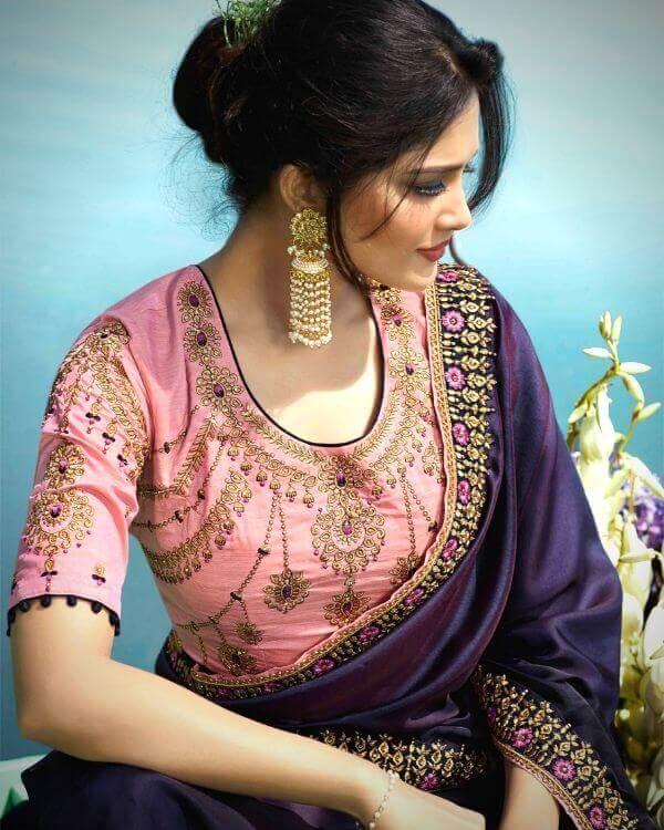 Pary Wear Blouse Design for Silk Saree