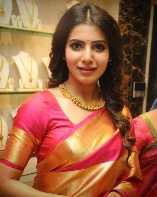 Samantha in Pattu silk saree