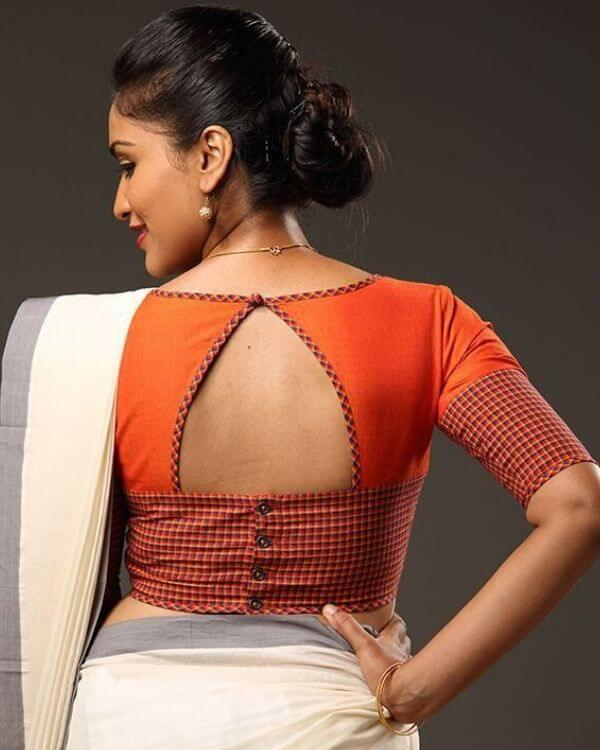 Trendy Back Side Blouse Design
