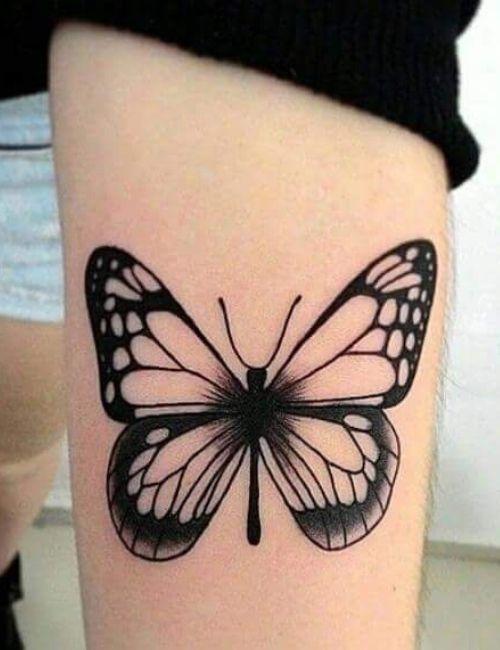 black shape butterfly tattoo