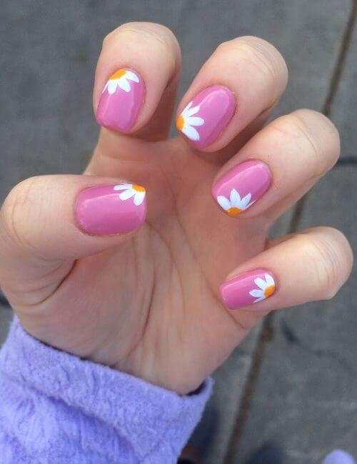 hot pink flower nail art