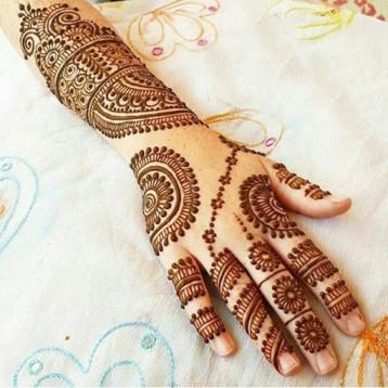 Stylish Mehndi on back hand for Ramadan