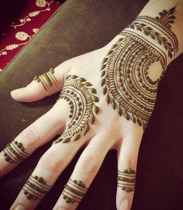 arabic back hand with circular patterns
