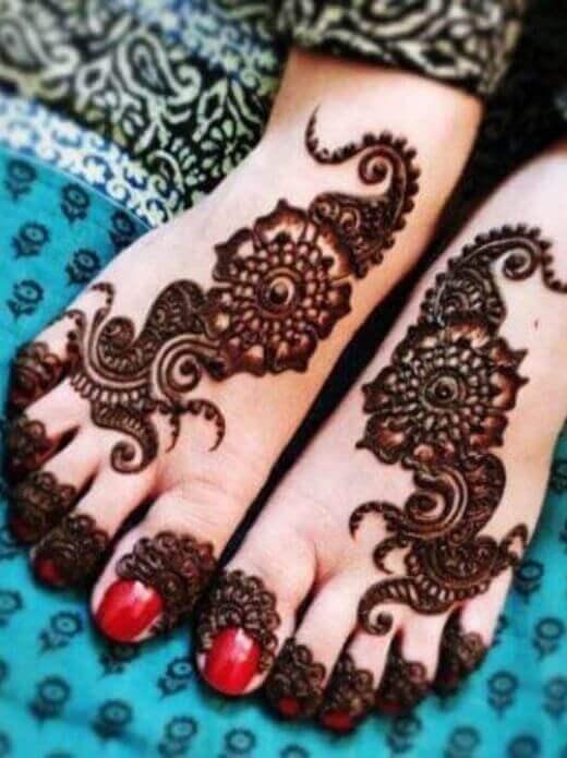 black henna eid mehndi deisgns for foot
