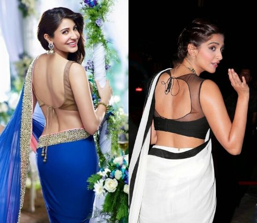 Anushka & Sonam with backless Blouse design