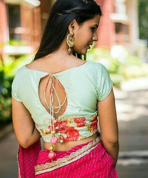 Boat Neck Back Open Blouse Designs
