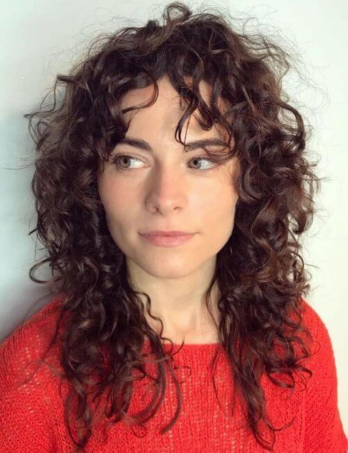 Messy Curly Brunette Shag
