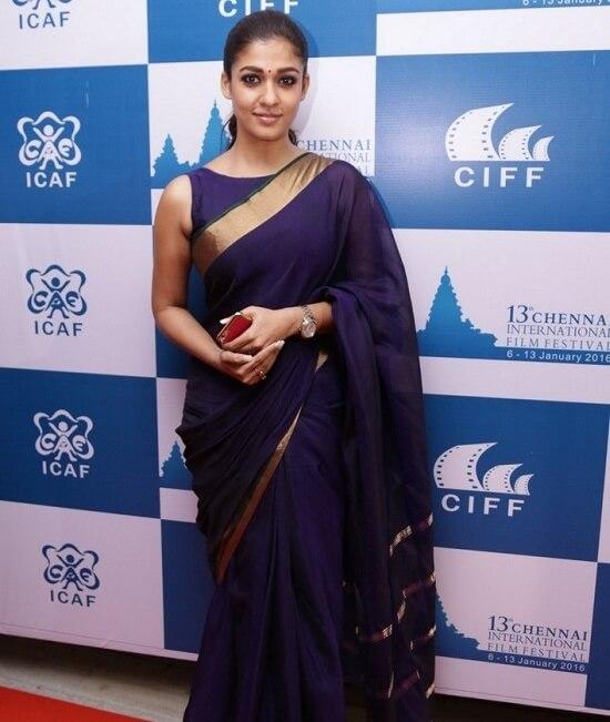 Nayanthara-in-simple blue saree