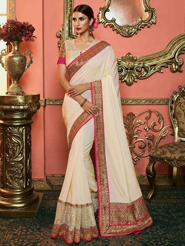 Off White Art Silk Plain Saree with Multi Colored Woven Border