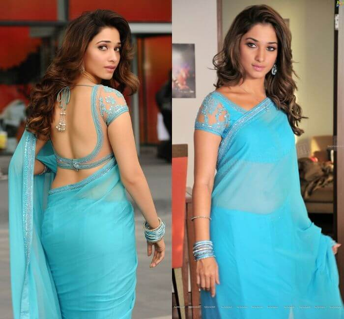 Tamman in Backless blouse in blue Saree