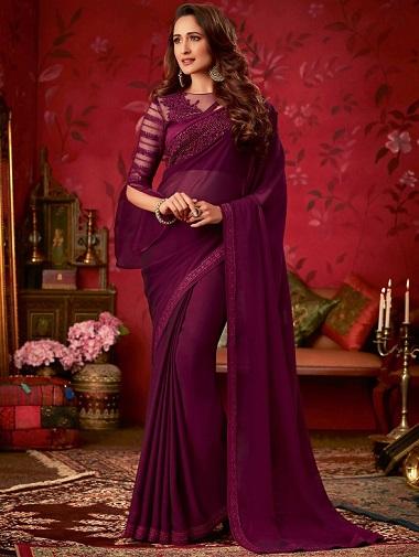 Wine Purple Georgette Plain Saree