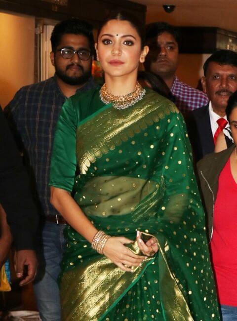 Anushka Sharma green saree