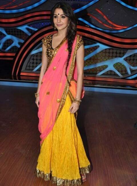 Anushka Sharma in pink half Saree