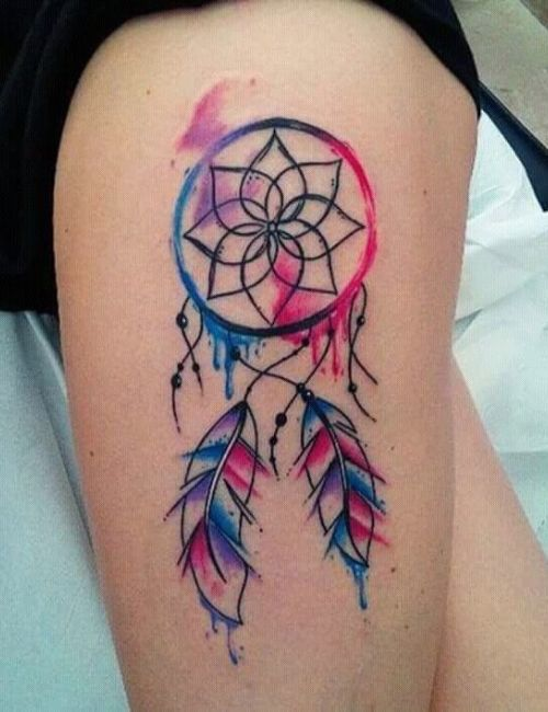Dream catcher tattoo on left thighs