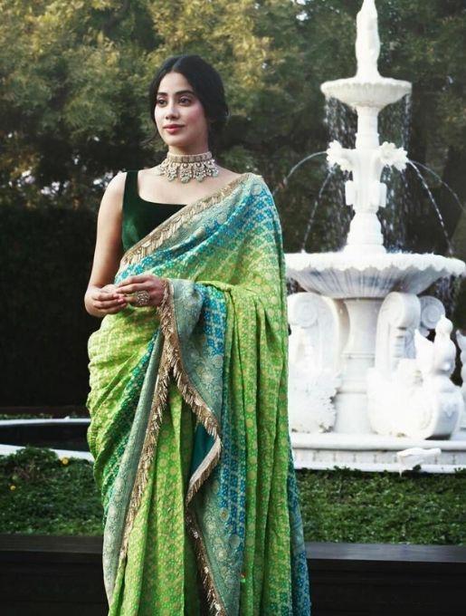 Jahanavi Kapoor in sleeve less blouse