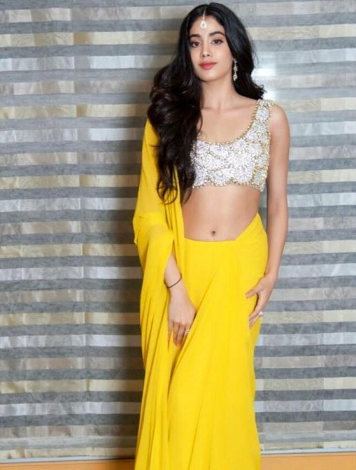 Jahanavi Kapoor in yellow half saree