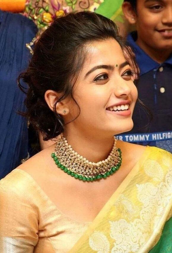 Rashmika Madanna in saree with Neckless
