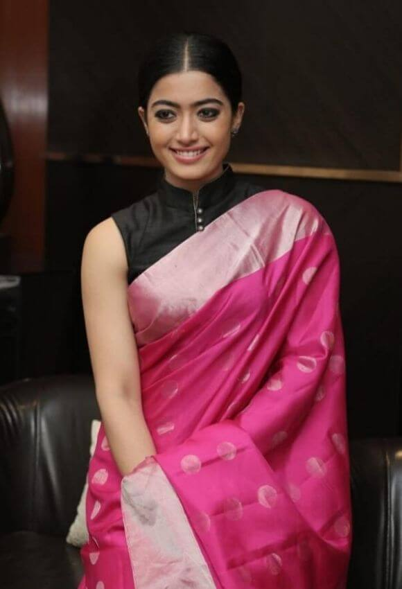 Rashmika Mandanna In Sleeveless Pink Saree