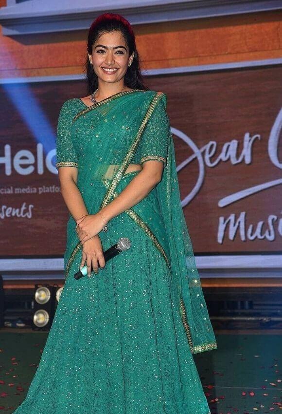 Rashmika mandaana in Green Saree