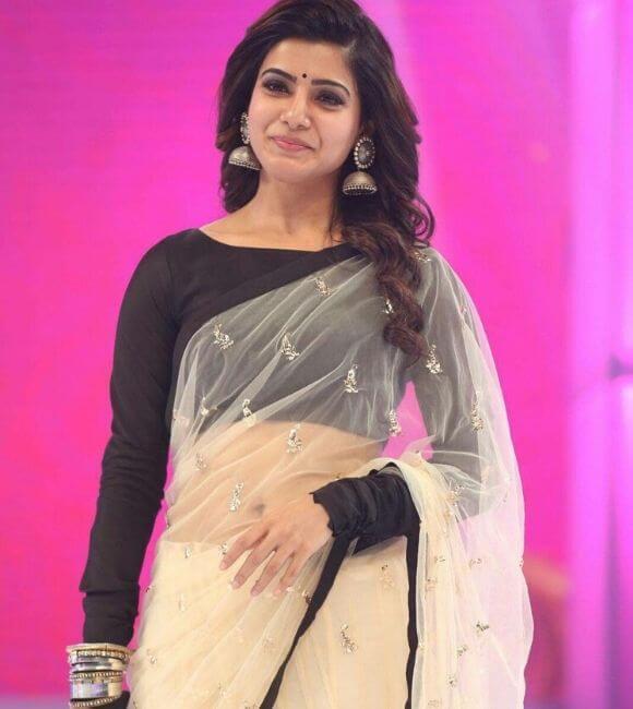Samantha in black blouse net saree
