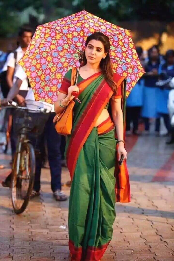 Samantha in gree saree with umbrella