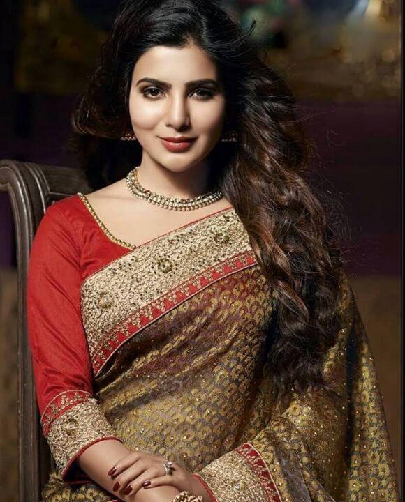 Samantha in red blouse design saree