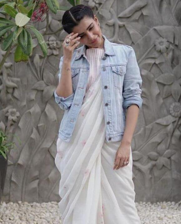 Samantha in saree with jacket
