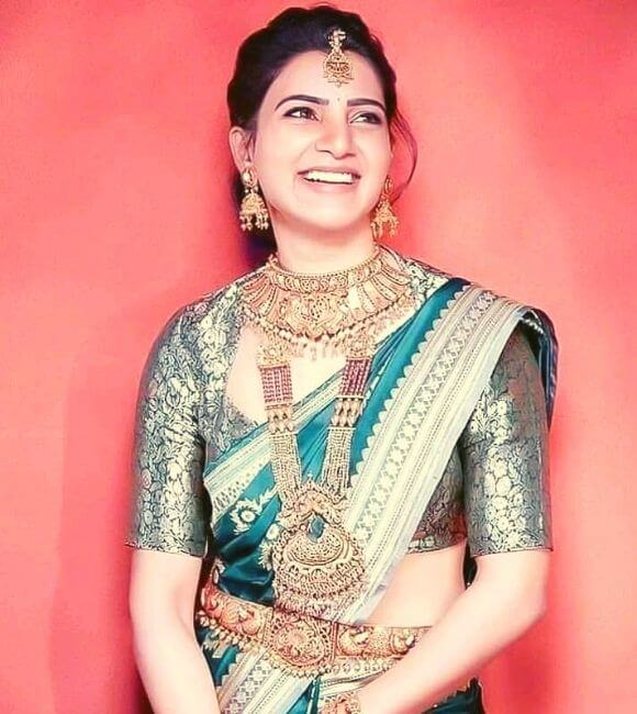 Samantha in saree with jewelery