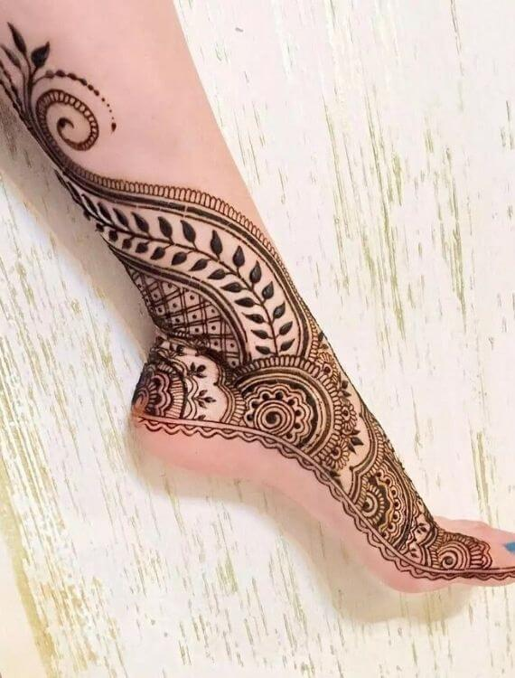 Side Ankle Foot Henna design