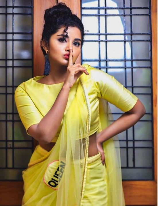 anupama parameswaran in net yellow saree