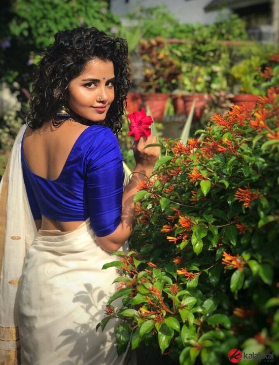 anupama parameswaran with blue blouse design