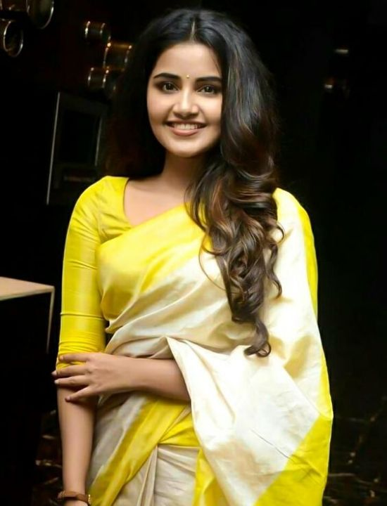anupama parameswaran yellow border & Blouse Design