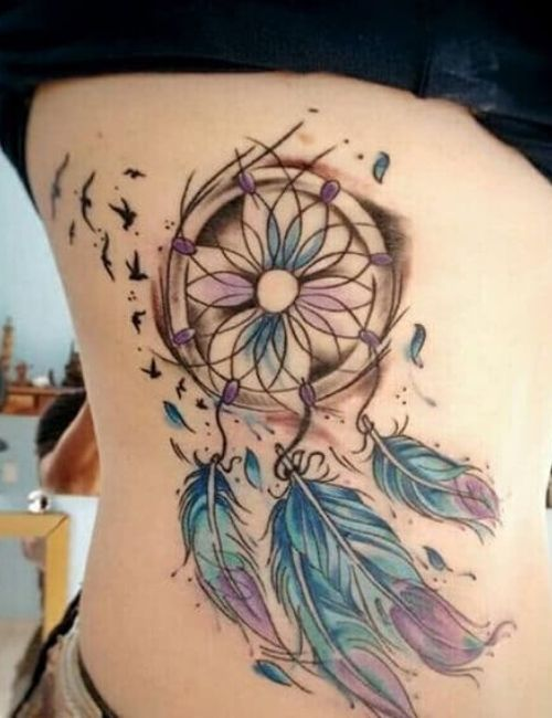 dream catcher feather tattoos for women