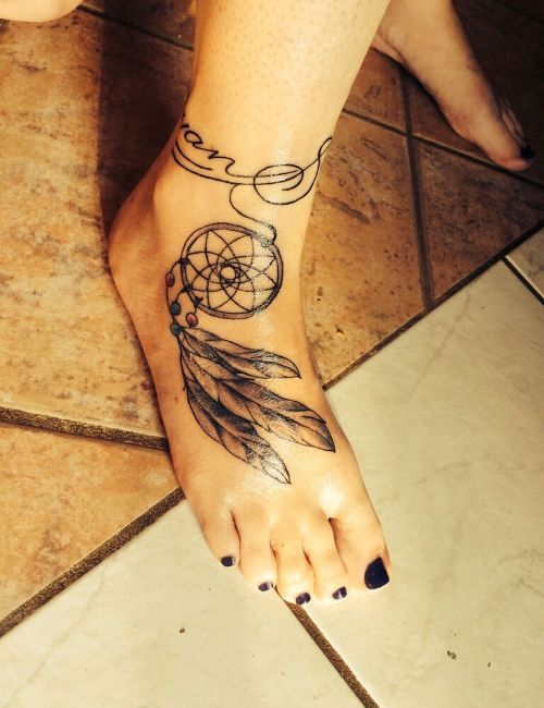 dream catcher tattoo on ankle