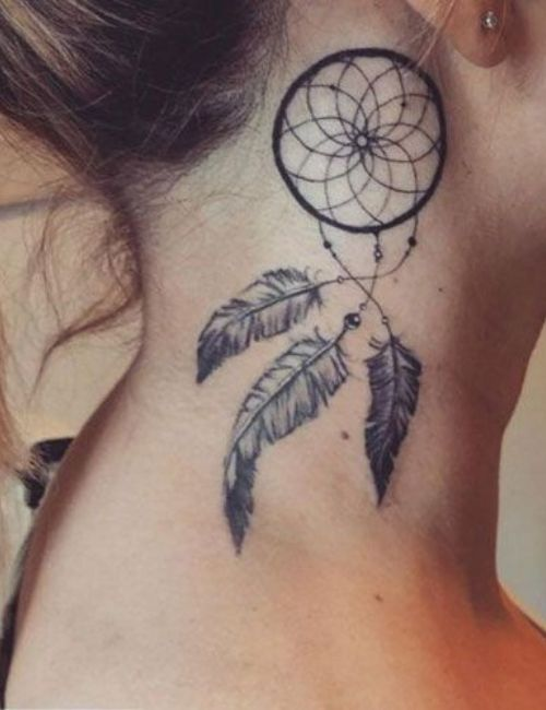 dream catcher tattoo on side neck