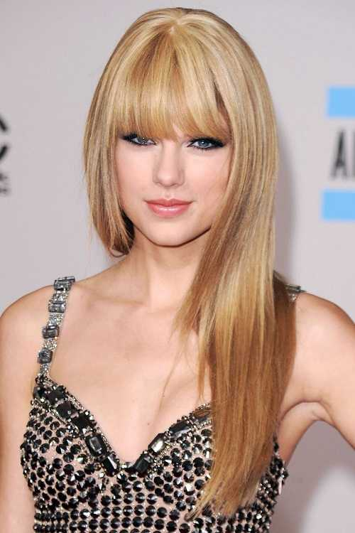 Taylor swift Straight Hair with bangs