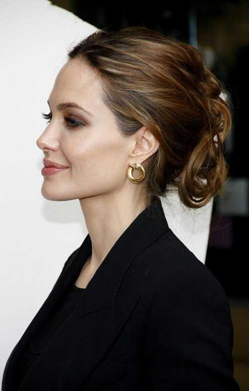 Angelina Jolie Hairstyle Tousled Updo