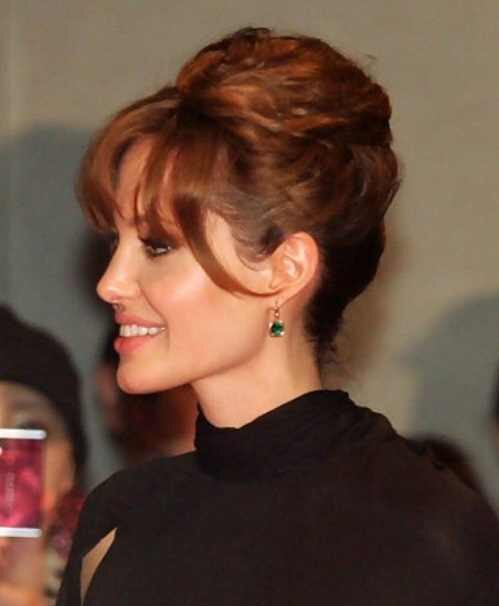 french twist updo with bangs