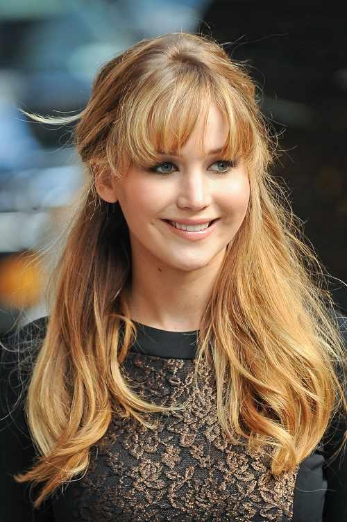 sholuder length fringe layered hairstyle