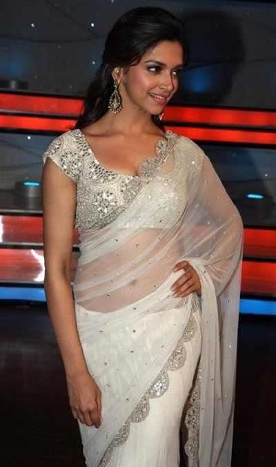 Deepika Padukone in transparent low waist saree