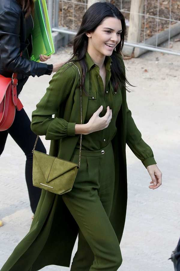 kendall jenner in green pant shirt