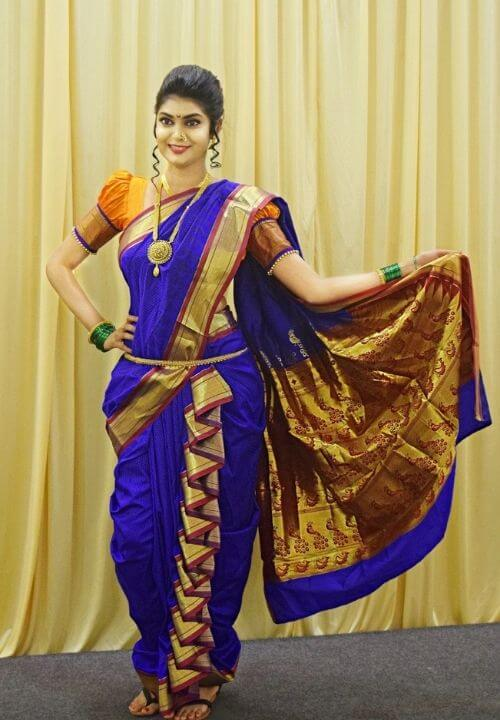 Blue color Peshwari Nauvari Saree