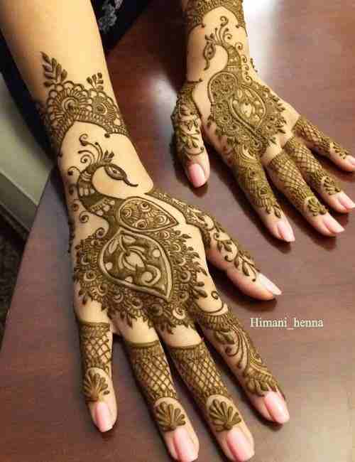 Peacock-Mehndi-Designs on Back Hand