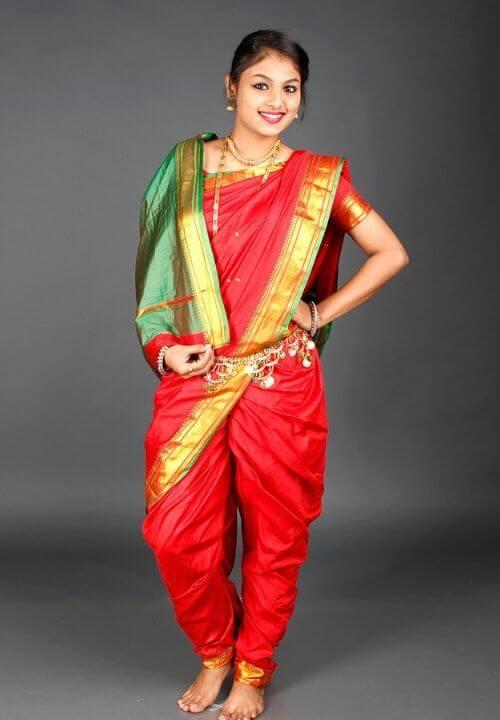 Red Nauvari Saree