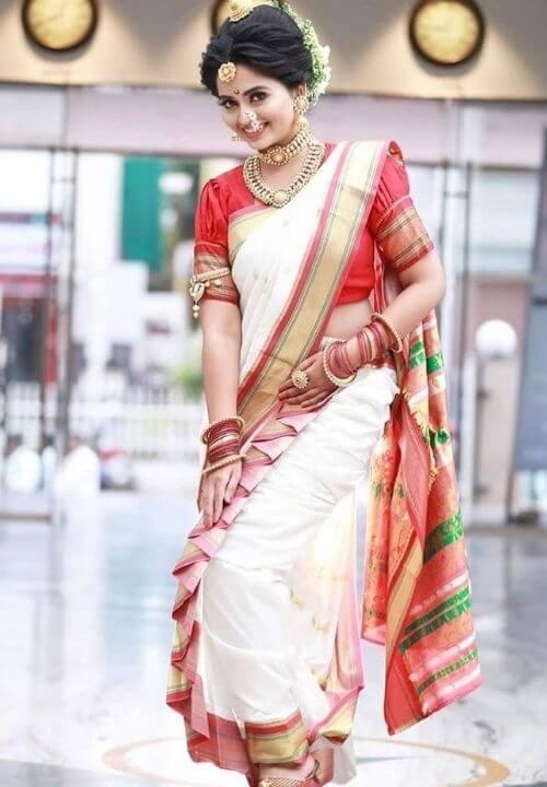 Red & White Silk Peshwari Nauvari Saree